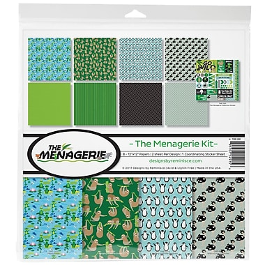 Reminisce The Menagerie 1, 8 Papers & Stickers Collection Kit, 12