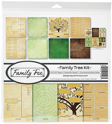 Reminisce Family Tree, 8 Papers & Stickers Collection Kit, 12