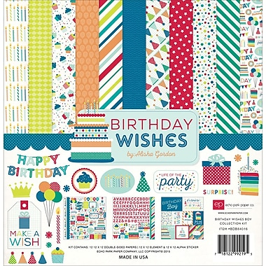 Echo Park Paper Birthday Wishes Boy Collection Kit, 12