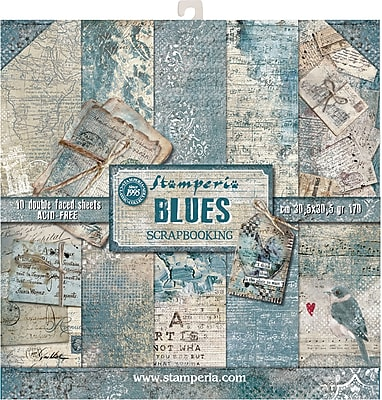 Stamperia Intl Blues, 10 Designs/1 Each Double-Sided Paper Pad, 12