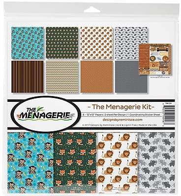 Reminisce The Menagerie 2, 8 Papers & Stickers Collection Kit, 12