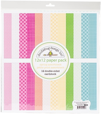 Doodlebug Spring Petite Prints Double-Sided Cardstock, 12