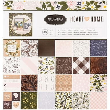 American Crafts Jen Hadfield Heart Of Home Pebbles Single-Sided Paper Pad, 12