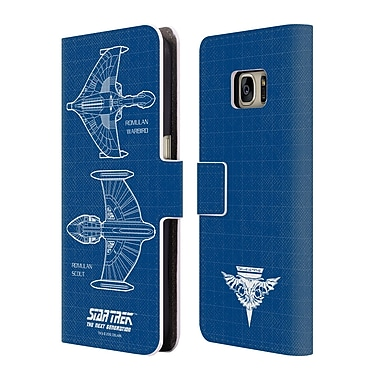 Official Star Trek Ships Of The Line Tng Romulan Starships Leather Book Wallet Case Cover For Samsung Galaxy S7