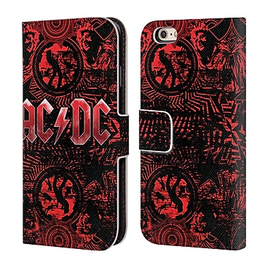 Official AC/DC Acdc Logo Ornate Red Leather Book Wallet Case Cover For Apple Iphone 6 / 6S