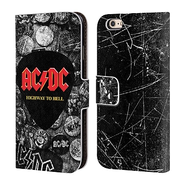 Official AC/DC Acdc Logo Button Pins Leather Book Wallet Case Cover For Apple Iphone 6 / 6S