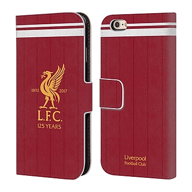 Official Liverpool Football Club Kit 2017/18 Liver Bird Home Shirt Leather Book Wallet Case Cover For Apple Iphone 6 / 6S