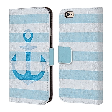 Official Monika Strigel Vintage Anchors Blue Leather Book Wallet Case Cover For Apple Iphone 6 / 6S