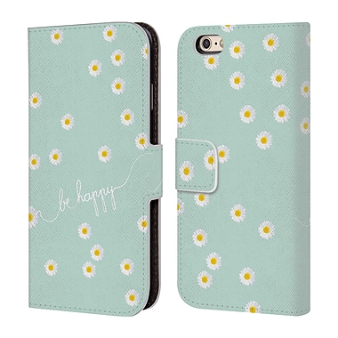 Official Monika Strigel Happy Daisy Mint Leather Book Wallet Case Cover For Apple Iphone 6 / 6S