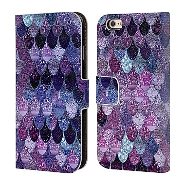Official Monika Strigel Happy Mermaid Dark Purple Leather Book Wallet Case Cover For Apple Iphone 6 / 6S