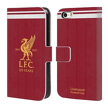 Official Liverpool Football Club Kit 2017/18 Liver Bird Home Shirt Leather Book Wallet Case Cover For Apple Iphone 5 / 5S / Se