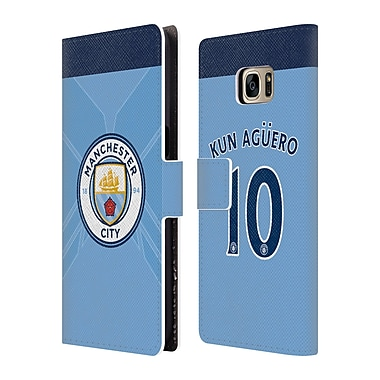 Manchester City Man City Fc Player Home Kit 2016/17 Group 2 Kun Aguero Leather Book Wallet Case Cover For Galaxy S7 Edge