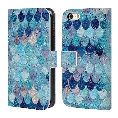 Official Monika Strigel Happy Mermaid Aqua Blue Leather Book Wallet Case Cover For Apple Iphone 5 / 5S / Se
