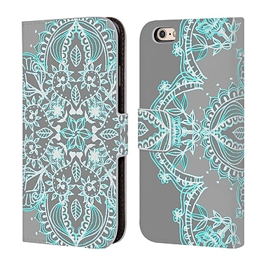 Official Micklyn Le Feuvre Mandala 3 Teal And Aqua Lace Leather Book Wallet Case Cover For Apple Iphone 6 / 6S