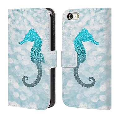 Official Monika Strigel Champagne Glitters 2 Seahorse Aqua Leather Book Wallet Case Cover For Apple Iphone 5 / 5S / Se