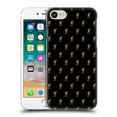 Official Liverpool Football Club 2017/18 Crest & Liver Bird Patterns Gold Hard Back Case For Apple Iphone 7 / 8