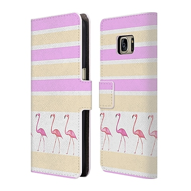Official Monika Strigel Flamingos And Stripes Pink Leather Book Wallet Case Cover For Samsung Galaxy S7