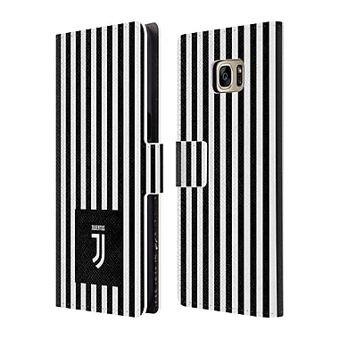 Official Juventus Football Club Lifestyle 2 Black & White Stripes Leather Book Wallet Case Cover For Samsung Galaxy S7 Edge