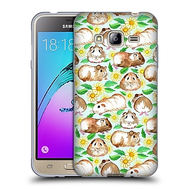 Official Micklyn Le Feuvre Patterns 2 Guinea Pigs And Daisies In Watercolour On Mint Soft Gel Case For Samsung Galaxy J3