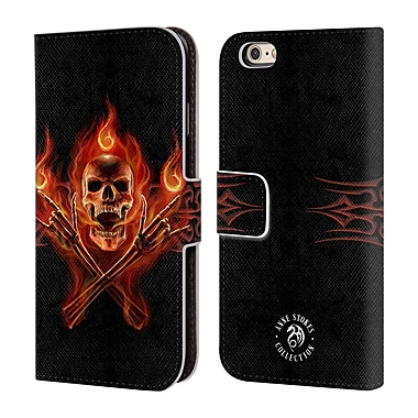 Official Anne Stokes Fire Tribal Hell Skull Leather Book Wallet Case Cover For Apple Iphone 6 / 6S