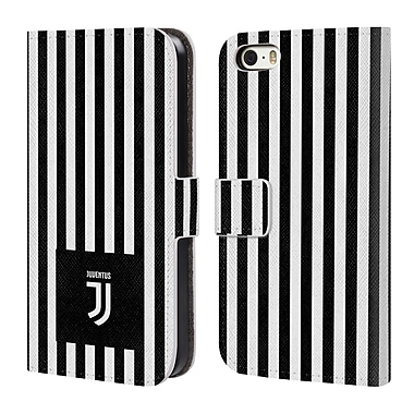 Official Juventus Football Club Lifestyle 2 Black & White Stripes Leather Book Wallet Case Cover For Apple Iphone 5 / 5S / Se