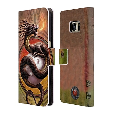 Official Anne Stokes Dragons Yin Yang Protector Leather Book Wallet Case Cover For Samsung Galaxy S7