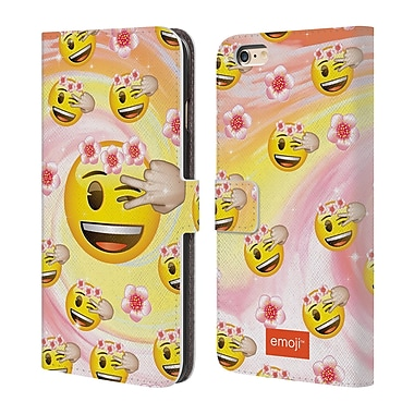 Official Emoji Smileys Wink Leather Book Wallet Case Cover For Apple Iphone 6 Plus / 6S Plus