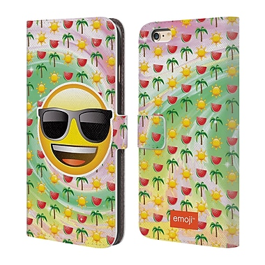 Official Emoji Smileys Summer Leather Book Wallet Case Cover For Apple Iphone 6 Plus / 6S Plus