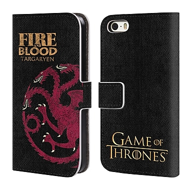 Official HBO Game Of Thrones House Mottos Targaryen Leather Book Wallet Case Cover For Apple Iphone 5 / 5S / Se