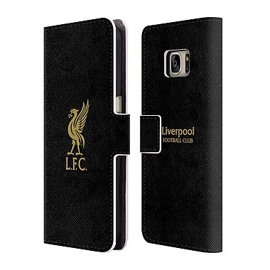 Official Liverpool Football Club Liver Bird Gold Logo On Black Leather Book Wallet Case Cover For Samsung Galaxy S7