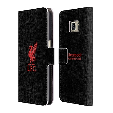 Official Liverpool Football Club Liver Bird Red Logo On Black Leather Book Wallet Case Cover For Samsung Galaxy S7