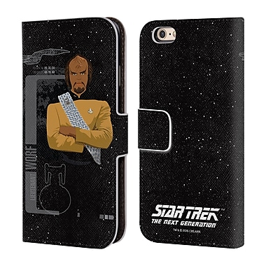 Official Star Trek Iconic Characters Tng Lieutenant Worf Leather Book Wallet Case Cover For Apple Iphone 6 / 6S
