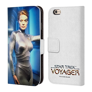 Official Star Trek Iconic Characters Voy Seven Of Nine Leather Book Wallet Case Cover For Apple Iphone 6 / 6S