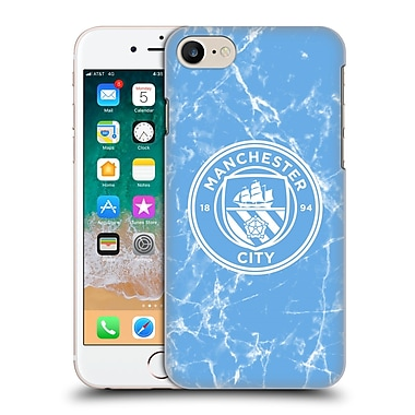 Official Manchester City Man City Fc 2017/18 Marble Badge Blue White Mono Hard Back Case For Apple Iphone 7 / 8