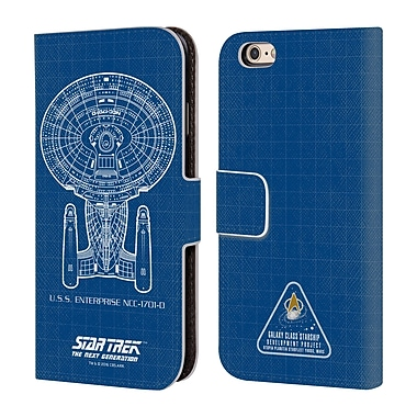 Official Star Trek Ships Of The Line Tng Uss Enterprise Ncc-1701-D Leather Book Wallet Case Cover For Apple Iphone 6 / 6S
