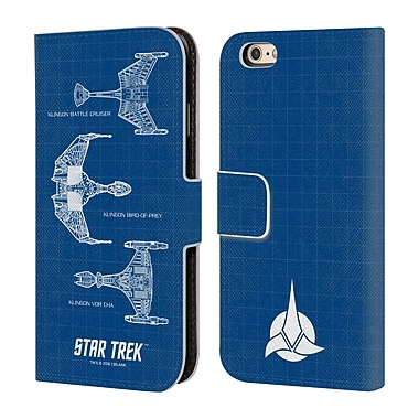 Official Star Trek Ships Of The Line Tng Klingon Starships Leather Book Wallet Case Cover For Apple Iphone 6 / 6S