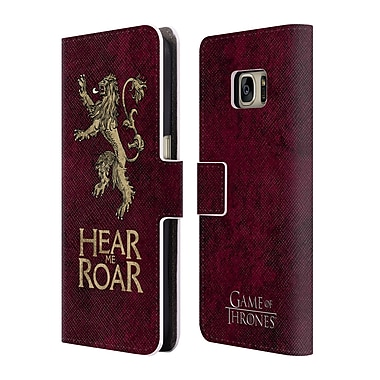 Official HBO Game Of Thrones Dark Distressed Sigils Lannister Leather Book Wallet Case Cover For Samsung Galaxy S7