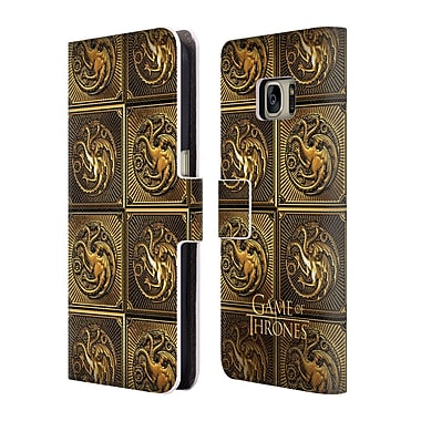 Official HBO Game Of Thrones Golden Sigils Targaryen Leather Book Wallet Case Cover For Samsung Galaxy S7