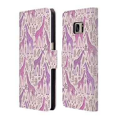 Official Micklyn Le Feuvre Wildlife Pink Giraffes Leather Book Wallet Case Cover For Samsung Galaxy S7