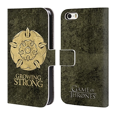 Official HBO Game Of Thrones Dark Distressed Sigils Tyrell Leather Book Wallet Case Cover For Apple Iphone 5 / 5S / Se