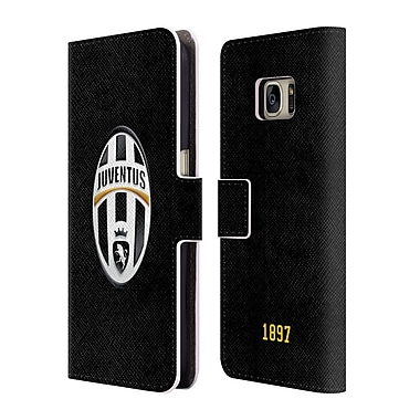 Official Juventus Football Club Crest Logo Black Leather Book Wallet Case Cover For Samsung Galaxy S7