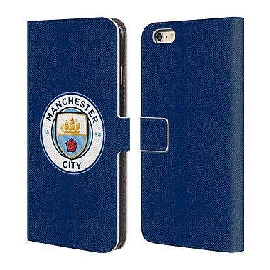 Manchester City Man City Fc Badge Obsidian Full Colour Leather Book Wallet Case Cover For Apple Iphone 6 Plus / 6S Plus