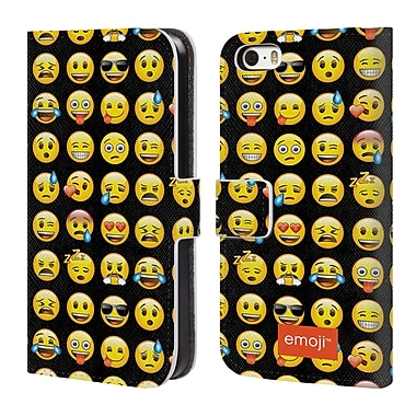 Official Emoji Smileys Pattern Leather Book Wallet Case Cover For Apple Iphone 5 / 5S / Se