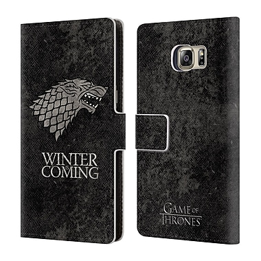 Official HBO Game Of Thrones Dark Distressed Sigils Stark Leather Book Wallet Case Cover For Samsung Galaxy S6 Edge+ / Plus