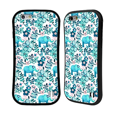 Official Micklyn Le Feuvre Patterns 2 Dusty Pink White And Teal Elephant Hybrid Case For Apple Iphone 6 / 6S