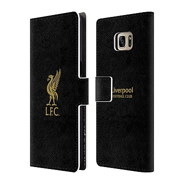 Official Liverpool Football Club Liver Bird Gold Logo On Black Leather Book Wallet Case Cover For Samsung Galaxy S7 Edge