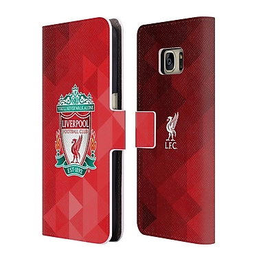 Official Liverpool Football Club Crest 1 Red Geometric 1 Leather Book Wallet Case Cover For Samsung Galaxy S7