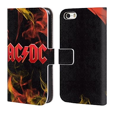 Official AC/DC Acdc Logo Fire Leather Book Wallet Case Cover For Apple Iphone 5 / 5S / Se