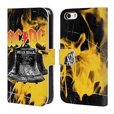Official AC/DC Acdc Logo Flames And Bells Leather Book Wallet Case Cover For Apple Iphone 5 / 5S / Se