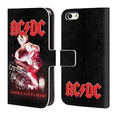 Official AC/DC Acdc Song Titles Angus Young Concert Leather Book Wallet Case Cover For Apple Iphone 5 / 5S / Se